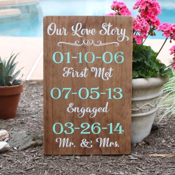Our Love Story Wedding Idea: Our Love Story Sign / Wood Wedding Sign With Dates