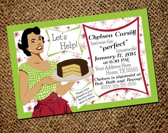 Retro Housewife Bridal Shower Printable Invitation, Housewife Invitation Printable, Vintage Housewife Party Download, Neutral