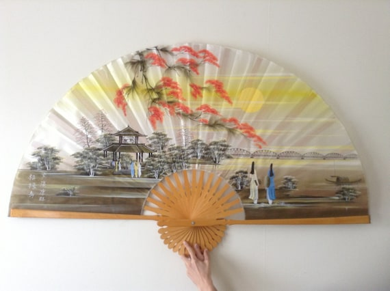Decorative Japanese Wall Fan Beautiful Colours With Lovely