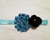 Baby Girl Blue Shabby Chic Headband, Toddler Girls Blue Shabby Chic Headband, Shabby Chic Blue Flower Headband