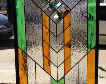 Frank L. Wright Style/Mission stained  and beveled glass window