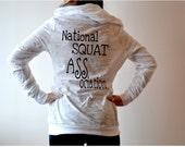National Squat Association Hoodie Shirt. Womens Clothing. Gym Hoodie.  Burn Out Long Sleeve Hoodie. Hoodie Shirt. Long Sleeve T Shirt.