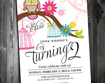 Printable WHOOO'S TWO owl birthday party invite