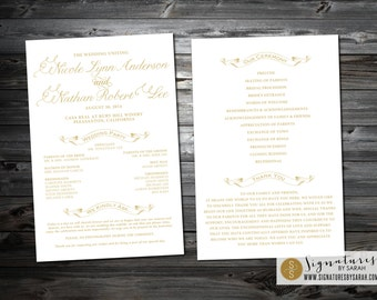 Printable SCRIPT Wedding PROGRAM ~ double-sided 6x9 card