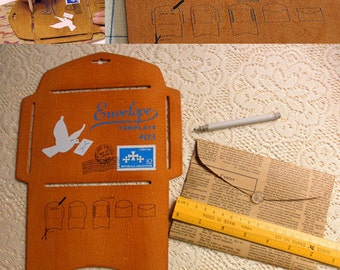 Wooden envelope stencil template - allows you to make your own envelopes out of any paper