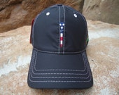 Men's Golf Hat Black with Embroidered USA Flag Tee Design - Diamond Lite Fabric | Great Golf Gift Item