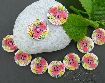 10 pcs Wood Buttons Printed, Romantic Style, Round 4-Hole, 25 mm