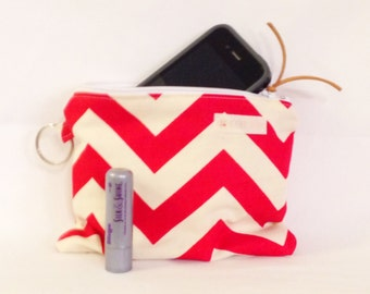 Bring on SUMMER Sale  Small Water-Resistant Bag, Dry Bag, Wet Bag, Zippered Pouch, Travel Bag, Red White Chevron, Yoga Wet Bag