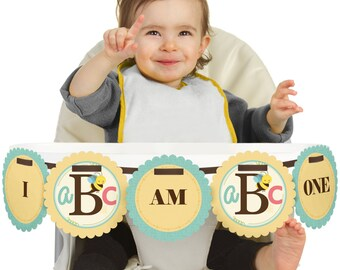 A is for Alphabet - 1st Birthday - I Am One - First Birthday High Chair Banner - First Birthday Party Decorations