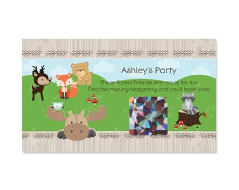 Woodland Baby Shower Scratch Off Game - Personalized Woodland Animals Game Cards - Woodland Creatures Scratch Off Party Game - 22 Ct.