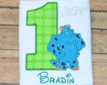 Personalized Custom Name Birthday Shirt Disney Monsters Inc Monsters University 1-9 Sully Mike Boo Name