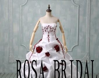 Plus size wedding dress burgundy, Burgundy wedding dress, Plus size wedding gown, Wedding dress lace up  Custom size color