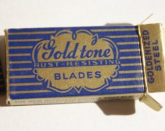 Vintage NIB Goldtone Double Edged Razor Blades (4) blades Rust-resistant