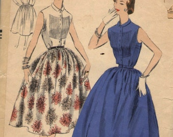 Vintage 1950s Vogue Sewing Pattern 8281- Misses'  Dress with tucked front size 14 Bust 32