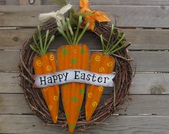 "18"" Easter Wreath- Grapevine Easter Wreath- Happy Easter Wreath- Carrot Easter Wreath- Grapevine Carrot Wreath- Easter Twig Wreath"