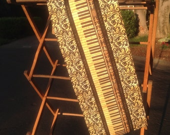 Table Runner, Musical, Piano, Piano keys Golden Ivories Piano Keys, Golden and brown