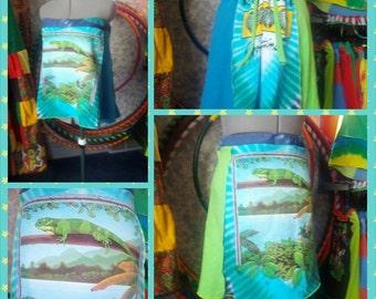 SALE! Upcycled rainforest lizard tie dye  mini skirt/ tank top