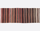 3,8 x 9,9 FT___115 x 296 CM         VINTAGE Striped  Turkish Handwoven  Kilim Rug, Natural Multi Colour (0501)
