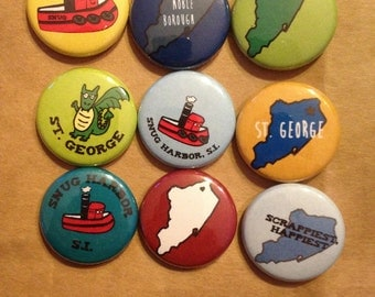 Staten Island themed one-inch buttons: Pick your favorite four!