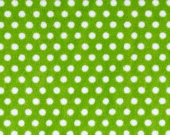 "Cuddle Classic- Swiss Dots - Jade Green with Snow Dots- Minky by Shannon Fabrics-(58/60"" Width) - Jde-Sn- 1 Yard Fabric"