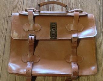 Vintage Cowhide 2 strap Legal Brief Case embossed Hurdman and Cranstoun SanFran Cali
