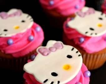 Edible Kitty Cat Face / Numbers /Letters Fondant Birthday Cake / Cupcake toppers - Set of 12