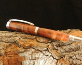Curly Koa Wood Pen, Rhodium Fittings and Postable Cap; Handmade Wooden Pen