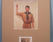 Norman Rockwell's painting of a Boy Scout reciting the Boy Scout Oath and the  stamp issued to honor the 40th Anniversary of the Boy Scouts