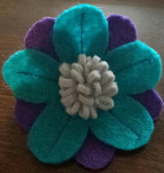 purple & turquoise daisy hair accessory