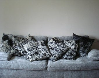 Fur pillows, cowhide pillows, salt and pepper cow hide, 50 cm x 50 cm