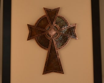Earth and Water Metal Cross Framed Wall Hanging
