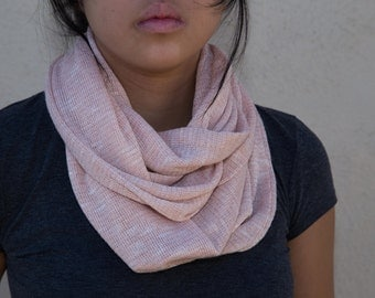 Light pink knitted infinity scarf (cowl)