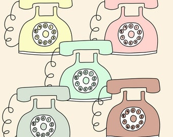 Vintage Telephones Hand Drawn Clip Art // Commercial Use