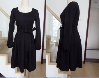 black dress spring dress autumn dress winter dress women clothing long sleeve dress cotton dress