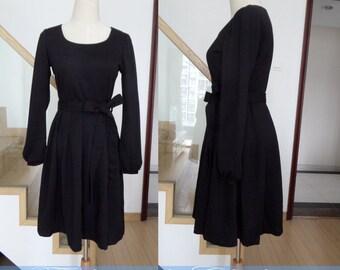 black dress spring dress autumn dress winter dress women clothing long sleeve dress cotton dress