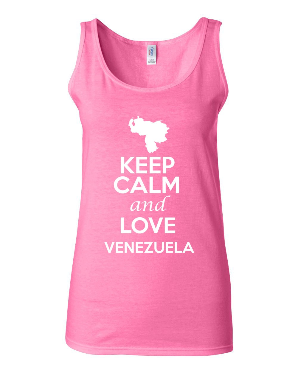 City Shirts Junior Keep Calm And Love Venezuela Novelty Statement Sleeveless Tank Top 1055