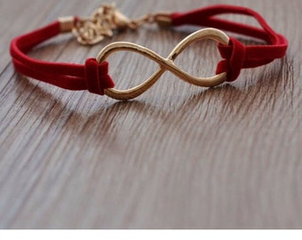 Red fashion infinity bracelet