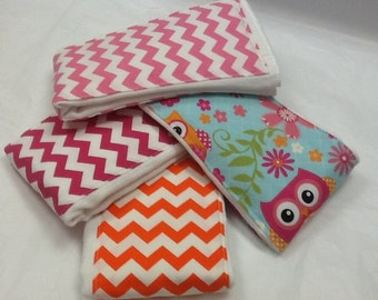 Set of 4 baby burp cloths with owls and chevron