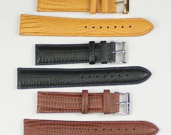 Mens watch strap lizard grain quality leather padded tan brown black 12mm -20mm