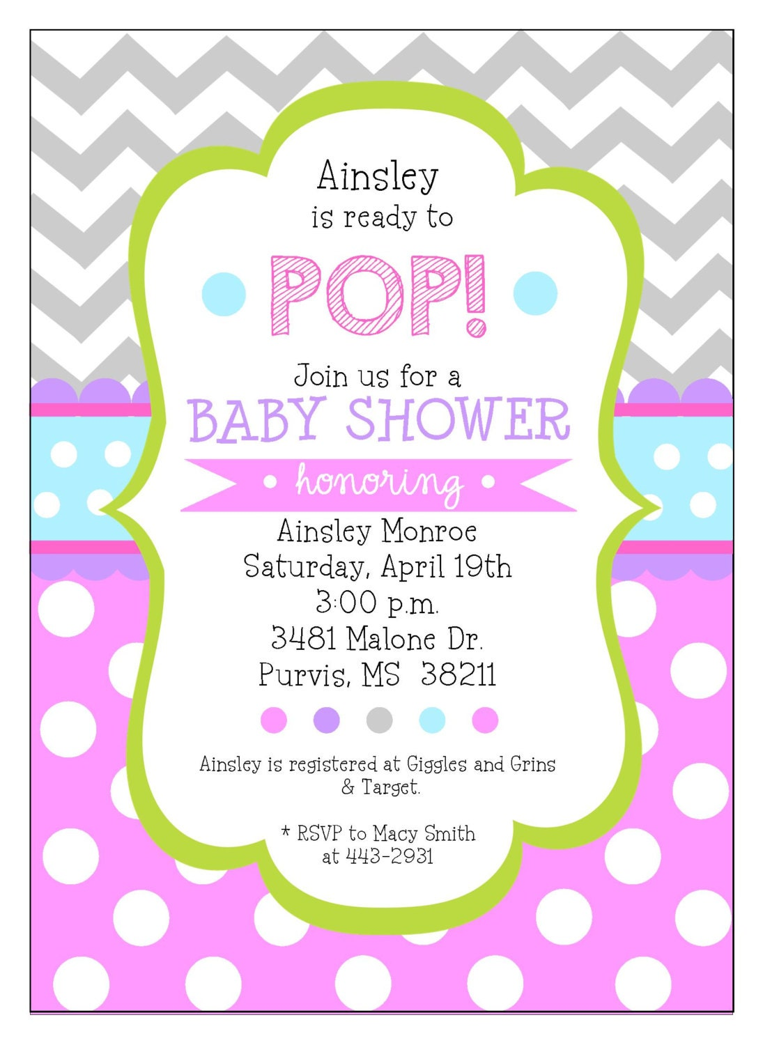 new personalized ready to pop baby girl baby shower digital