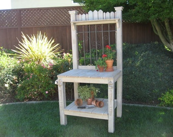 Weathered Finish Potting Bench with Decorative Iron Insert