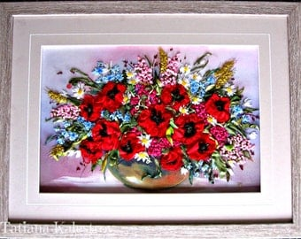 "Silk Ribbon Embroidery Artwork  ""Poppy Flowers In Vase"""