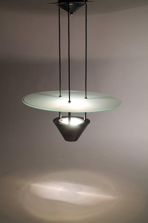 22in.ITALIAN halogen CHANDELIER vintage modern flying saucer