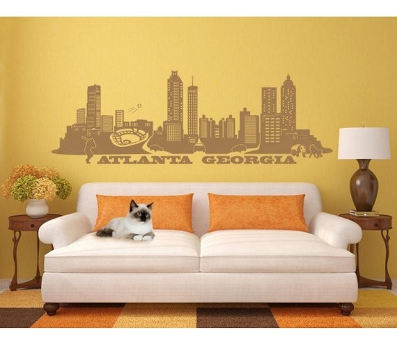 atlanta georgia skyline wall decal sticker mural vinyl. Black Bedroom Furniture Sets. Home Design Ideas