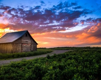 Old Rustic Barn in Rural Kansas During Sunset,  Fine Art Photography by Pitts Photography