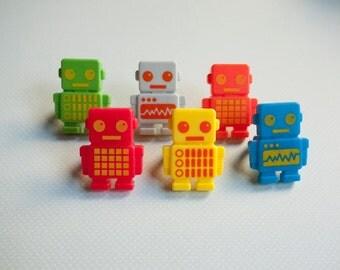 12 Robot Cupcake Toppers - Robot Rings