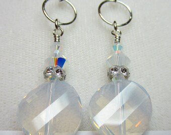 White opal twisted crystal earrings
