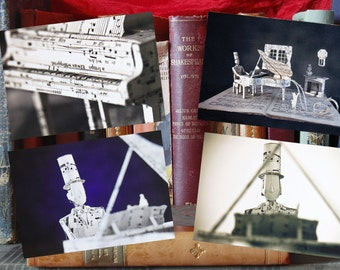 "Complete series 4 postcards of the book sculpture ""Piano"""