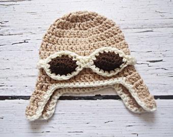 Aviator crochet hat for newborn