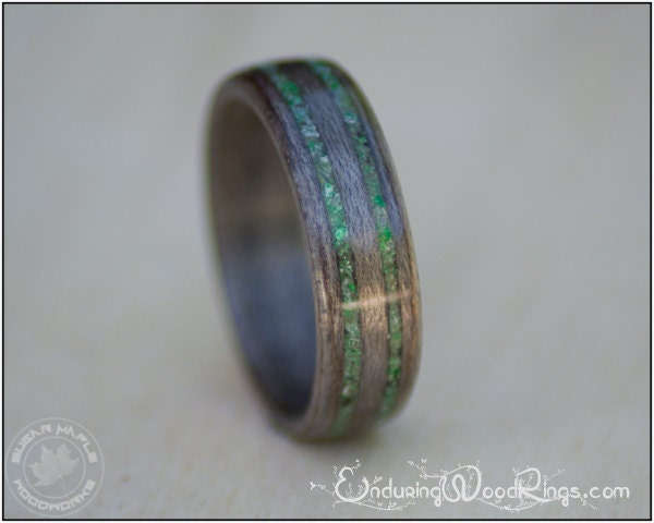 grey maple wood ring with jade inlays mens by. Black Bedroom Furniture Sets. Home Design Ideas